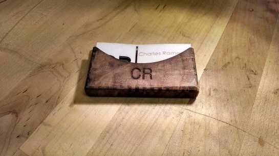Black walnut card holder.