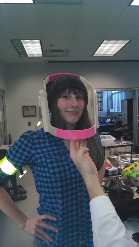 My friend Kara decided she wanted to try the helmet on as well.