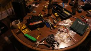 Our makeshift workbench at around 3am the night before Motorama.